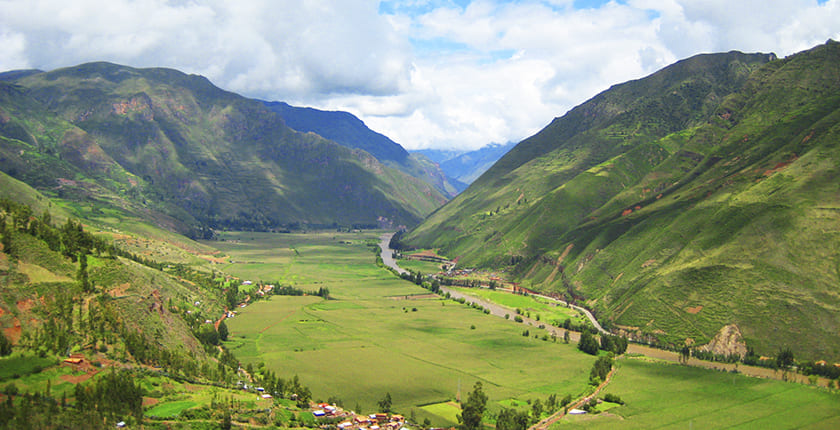 the stunning view of the green sacred valley