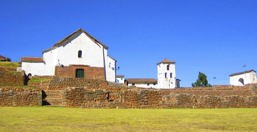 The colonial church of chinchero lies upon inca walls