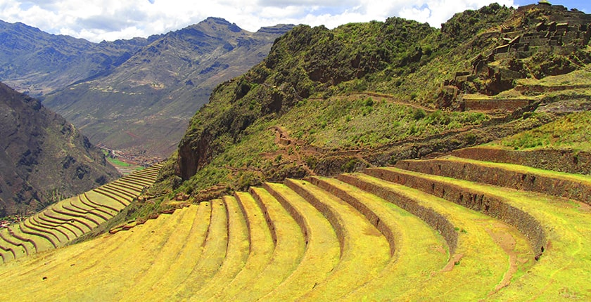agricultural terrace and group of inca houses in pisac